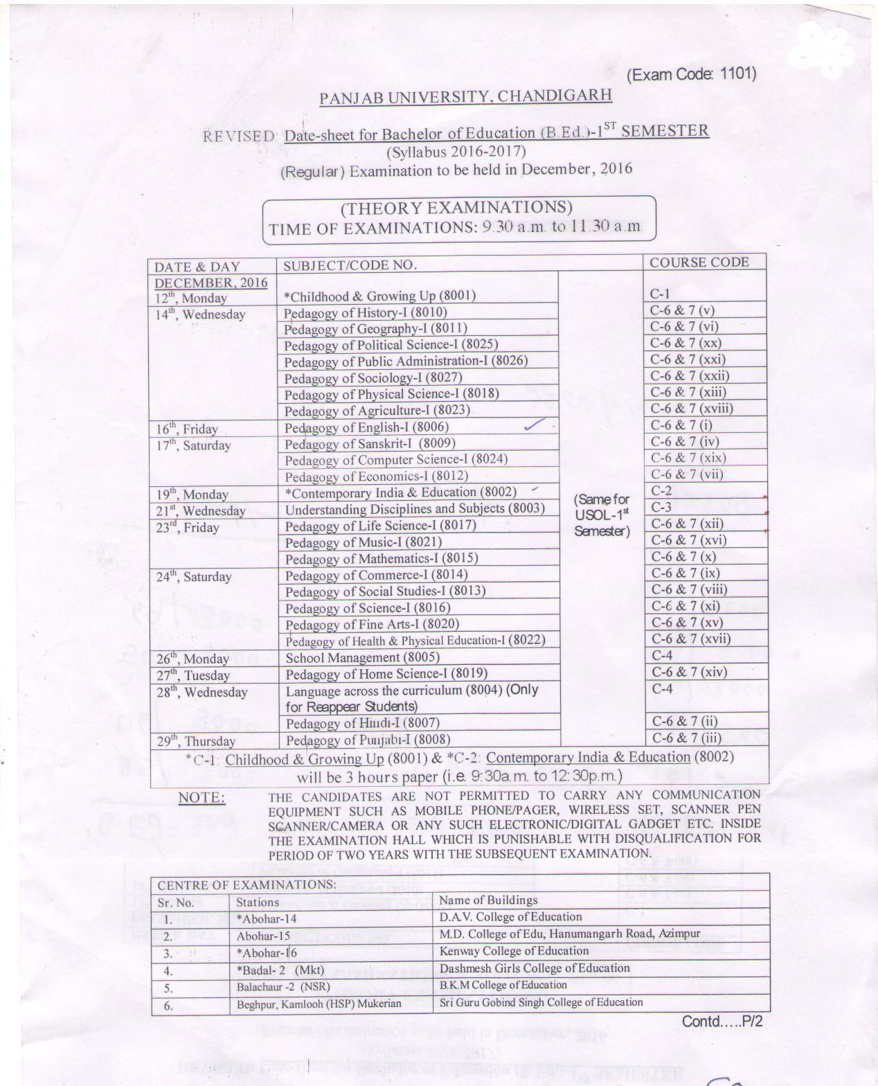 Revised:  Date Sheet for B.Ed. 1st Semester December, 2016